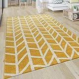 Paco Home Teppich Wohnzimmer Muster Geometrisch Modern Kurzflor Streifen In Gelb Grau, Grösse:120x170 cm