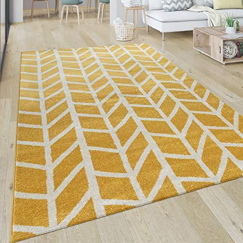 Paco Home Teppich Wohnzimmer Muster Geometrisch Modern Kurzflor Streifen In Gelb Weiß, Grösse:200x290 cm -