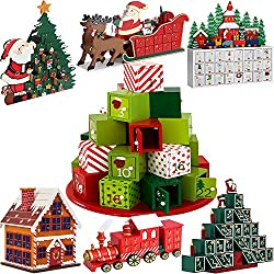 Calendario de Adviento de madera, reutilizable decoración rellenable cuenta regresiva de Navidad DIY regalo sorpresa