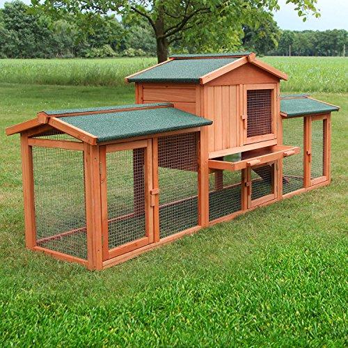 Zooprimus Kaninchenstall 1 XXL Hasenkäfig - HASENSTALL XXL - Stall für Außenbereich (für Kleintiere: Hasen, Kaninchen, Meerschweinchen usw.) - Großer Kaninchenstall