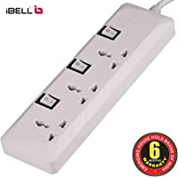 iBELL EB503 3-Way Spike Guard (Extension Cord) with Individual Switch & 5 Meter Cable (White)