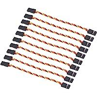 OliRC 10 pièces câble d'extension Servo Fil torsadé 10 cm 3 Broches 30 Cordons 26awg Prise mâle à mâle pour JR Futaba…
