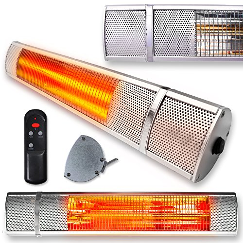 Futura Deluxe Wall Mounted Electric Infrared Outdoor Garden Patio Heater 2000W, Waterproof, Remote Control Included