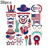 GEZICHTA Amerika Independence Day Photo Booth Props DIY Kit für Festival Supplies Happy 4. Juli USA Party Event Dekorationen 26/Set