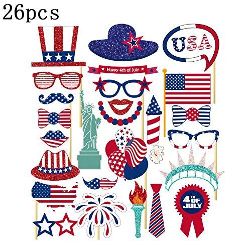 GEZICHTA Amerika Independence Day Photo Booth Props DIY Kit für Festival Supplies Happy 4. Juli USA Party Event Dekorationen 26/Set