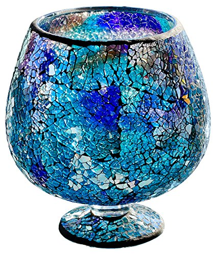 Febland Blue Glass Mosaic Hurricane, 17.5 x 17.5 x 19 cm