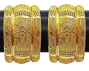 YouBella Fashion Jewellery Traditional Gold Plated Gold Look Wedding/Party Wear Bracelet Bangle Set of 6 Bangles Jewellery For Girls and Women (2.4)