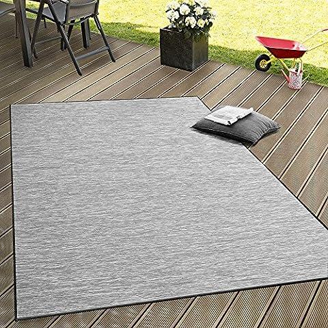 In- & Outdoor Flachgewebe Teppich Terrassen Teppiche Mit Farbverlauf In Grau, Grösse:60x100 cm (Teppich Für Balkon)