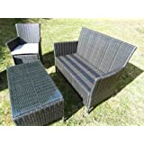 Rattan Furniture Patio Lounge Set Cappuccino Weave Conservatory Garden Coffee