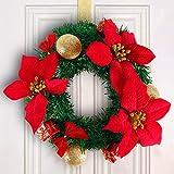 Weihnachtskranz Adventsgesteck Weihnacht Gesteck Türkranz Weihnachten Adventsdekoration - zum Aufhängen oder hinlegen - verwendbar an Türen, Fenstern, Treppengeländern, etc. Farbwahl rot