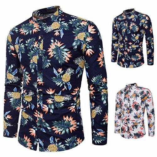 d90bd756ae5 Camisas Hombre Manga Larga Estampadas AIMEE7 Camisas Hombre Elegantes Manga  Larga Camisas Hombre Hipster (L