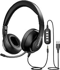 Mpow PC Headset, Faltbar Klinke Headset, USB Headset / 3,5mm Chat Headset, Noise-Cancelling Kopfhörer, Computer Headset mit einziehbaren Mikrofon, Telefon Headset für alles, PC, Smartphone, Tablet, Skype, Webinar, Telefon, Call-Center(Schwarz)