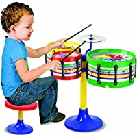 Toyico Jazz Drum Set for Kids | Musical Drum Big Size (with Small Sitting Table), 3 Drum, 2 Sticks and 1 Band Stand, 1…