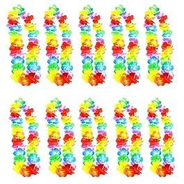 Gudotra 25pz Ghirlande Colorate Collana Hawaiane Fiore Seta per Festa a Tema Hawaiana Addio al Nubilato Compleanno…