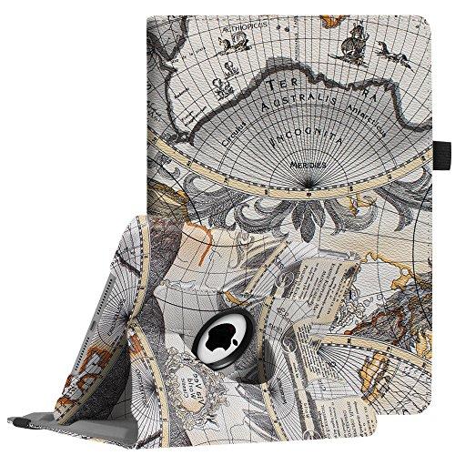 Fintie iPad 9.7 Zoll 2018 2017 / iPad Air Hülle - 360 Grad Rotierend Stand Cover Case Schutzhülle mit Auto Schlaf / Wach Funktion für Apple iPad 9,7'' 2018 2017 / iPad Air 2 / iPad Air, Landkarte Design