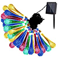 Solar String Lights, GDEALER 20ft 30 LED Water Drop Solar String Fairy Waterproof Lights Christmas Lights Solar Powered String lights for Garden, Patio, Yard, Home, Christmas Tree, Parties-RGB (1 Pack)