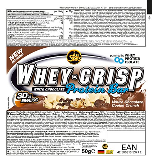 All Stars Whey-Crisp Bar, White Chocolate Cookie Crunch, 24er Pack (24 x 50 g) - 5