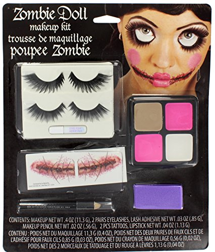 Zombie Doll Halloween Makeup Kit With Eyelashes, Tattoos, Paint, Sponge & Pencil (Zombie Kit)