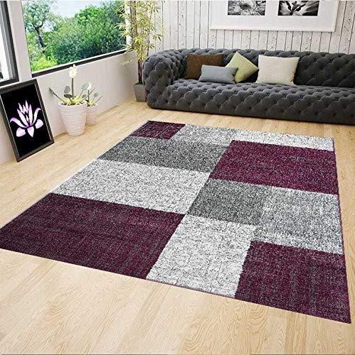 Kurzflor Teppich Wohnzimmer Lila Grau Weiß Kariert Kachel Optik sehr pflegeleicht in der Handhabung 160x230 cm