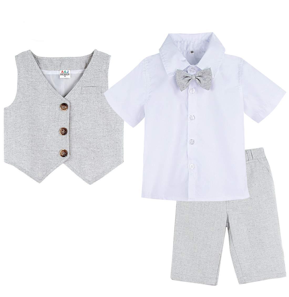 mintgreen Conjunto Camisa de Manga Corta Bebé Niños, Traje Caballero con Pajarita Chaleco, 3 Piezas Tamaño: 1-5 Años 1