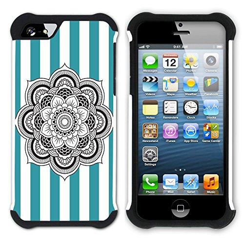 Graphic4You Mandala Blume Streifenmuster (Gelb) Hart + Weiche Kratzfeste Hülle Case Schale Tasche Schutzhülle für Apple iPhone SE / 5 / 5S Türkis