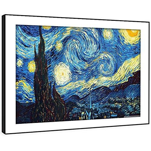 Gerahmte Van Gogh Kunstwerke (BFAB242D gerahmte Druckwandkunst - Impressionist van Gogh Nacht Moderne Abstrakte Landschaft Wohnzimmer Schlafzimmer Stück Wohnkultur Leicht Hang Guide (72x51cm))