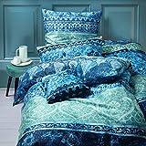 Living Dreams Mako-Satin Bettwäsche Indi blau 135x200 cm + 80x80 cm