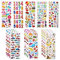 LOKIPA 33 Sheets Kids Puffy Stickers - Over 1000 +3D Puffy Stickers for Kids - Including Animals , Numbers ,Dinosaur, Vehicle