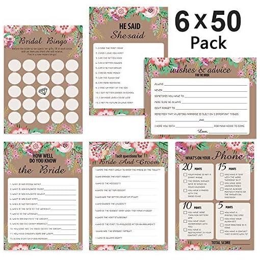 300-Blatt-Brautparty-Spielset-Hochzeits-Spielkarten-Pack-und-Partybedarf-Inklusive-EheberatungBrautparty-BingoWie-gut-kennst-du-die-BrautSatz-von-6-Spielen-50-Blatt-pro-Spiel5-x-7-Zoll