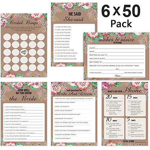 -Spielset,POAO Hochzeits-Spielkarten-Pack und Partybedarf, Inklusive Eheberatung,Brautparty-Bingo,Wie gut kennst du die Braut?Satz von 6 Spielen / 50 Blatt pro Spiel(5 x 7 Zoll) ()