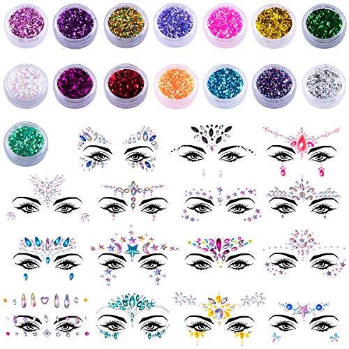 SIQUK 15 Stück Gesicht Edelsteine Aufkleber und 15 Boxen Gesichts Glitter, Juwelen Aufkleber Gesicht Temporäre Tattoos Gesichts Aufkleber für Glitzer Effekt Parties Shows Make-up