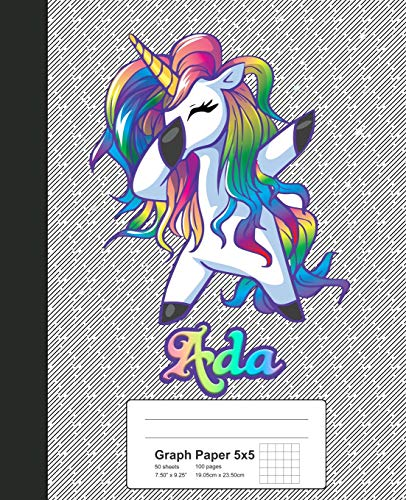 Graph Paper 5x5: ADA Unicorn Rainbow Notebook (Weezag Graph Paper 5x5 Notebook, Band 284) - Ada Deck