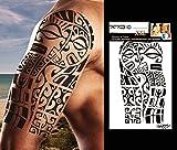 TATTOO ID XXL MARQUISIEN tribal polynésien maori tatouage ephemere temporaire hypoallergénique Fabriqué en FRANCE 1 planches 22cm x 14,5cm Homme Femme