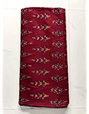 NK Textiles Women's Ikat Print Maroon Coloured Linen Cotton Unstitched Fabric of 2.5 Meters, 3 Meters, 5 Meters, for Making Kurtis, Gowns, Palazzo, Patiyala etc Dress Material