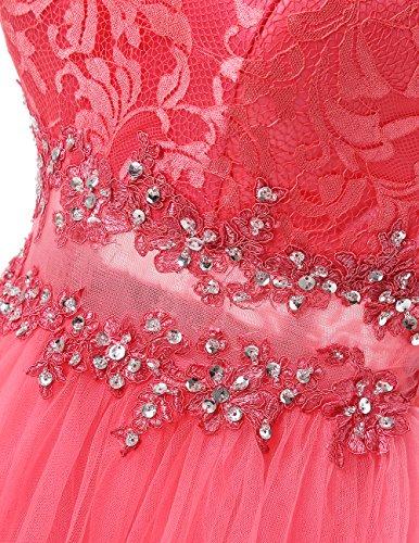 Dresstells Robe courte de soirée de cocktail Robe de demoiselle d'honneur en tulle dentelle Rouge