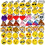 Aiduy Emoji Keyrings, 2'' Stuffed Lovely Plush Pillow Emoji Keychain for Kids, Kids Party Favors Supplies Bag Decorations (49 Pack)