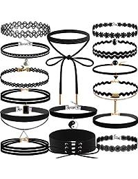 Negro Choker Set, Outee 15 PCS Gótico Elástico Retro Chockeres Gargantilla Collar de terciopelo Choker Collares para las mujeres