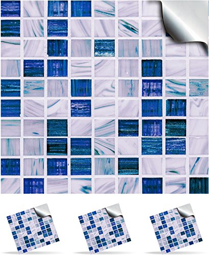 """TP12 - 6"""" Sea Blue - 2 Printed in 2D Kitchen / Bathroom Tile STICKERS For 150mm (6 inch) Square Tiles – Directly From: TILE STYLE DECALS, No Middleman (6"""" Pack of 2 stickers)"""