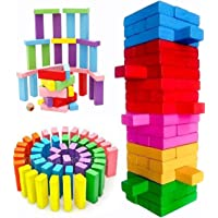 Khasala Brothers 54 Pcs Colorful Education Wooden Blocks Toy Set , Dices Board Educational Puzzle Game for Kids and…