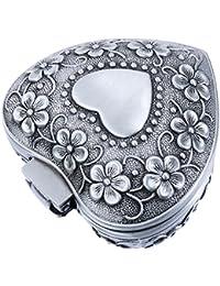 Corazón Caja de Joyería de Flor de Diseño de Vendimia de Almacenamiento Pendiente Collar Antiguo