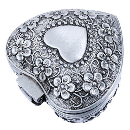 Boîte à Bijoux Coeur Motif de Fleur Antique Vintage pour Collier Boucle D'oreille