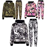 A2Z 4 Kids® Kids Tracksuit Boys Girls Designer's Camouflage Print Zipped Top Hoodie & Botom Jogging Suit Age 5 6 7 8 9 10 11 12 13 Years