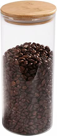 77L Glass Coffee Bean Container, 52.36 FL OZ (1550 ML), Glass Food Storage Jar with Airtight Seal Bamboo Lid - Modern Design