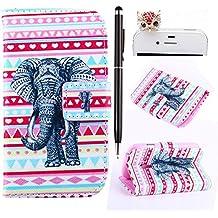Felfy Stripes Elefante Diseño PU Cuero Billetera Funda Flip Carcasa Para Samsung Galaxy S3 mini i8190 + 1x Rojo Búho Enchufe del Polvo + 1x Negro Lápiz Táctil