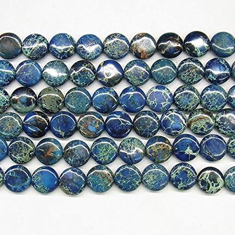 thetastejewelry 8mm flach rund blau Sea Sediment Jasper Perlen 38,1cm 38cm Halskette Heilung Schmuck herstellen–4544
