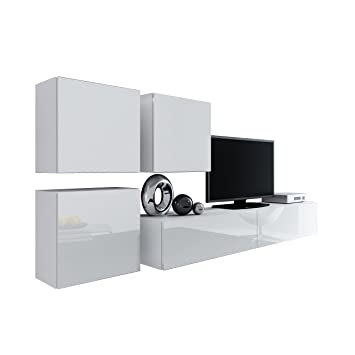 Wohnwand Vigo Xxiii, Design Mediawand, Modernes Wohnzimmer Set ... Hangeschrank Weis Wohnzimmer