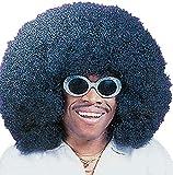 Erwachsene Herren Schwarz 1970s Super Große Afro Kostüm Kleid Outfit Perücke