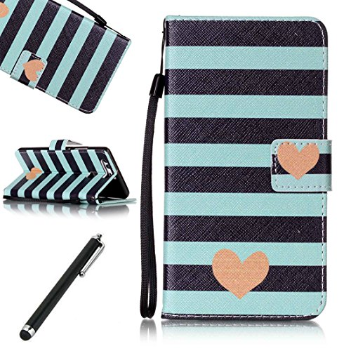 Huawei-P9-CaseBeddouuk-Huawei-P9-Leather-CaseUltra-Slim-PU-Leather-Wallet-Case-Cover-Kickstand-Feature-CashCard-Slots-Magnetic-ClaspColorful-Pattern-Design-Bookstyle-Full-Body-Protection-Cover-Skin-Ho