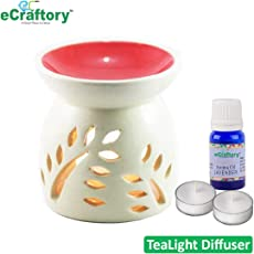 eCraftory Aroma Oil Diffuser/Tealight Diffuser Burner Red Top - Free 10 ml Lavender Aroma Oil and 2 pcs Tealight Candles