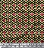 Soimoi Schwarz Poly Krepp Stoff marokkanisch Damast Stoff
